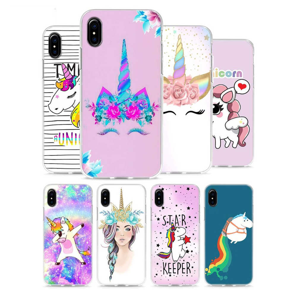 Soft Silicone Phone Cases for Apple iPhone 8 7 Plus 6 6s Plus 5 5S SE X XR XS MAX Horse Unicorn On Rainbow TPU case cover