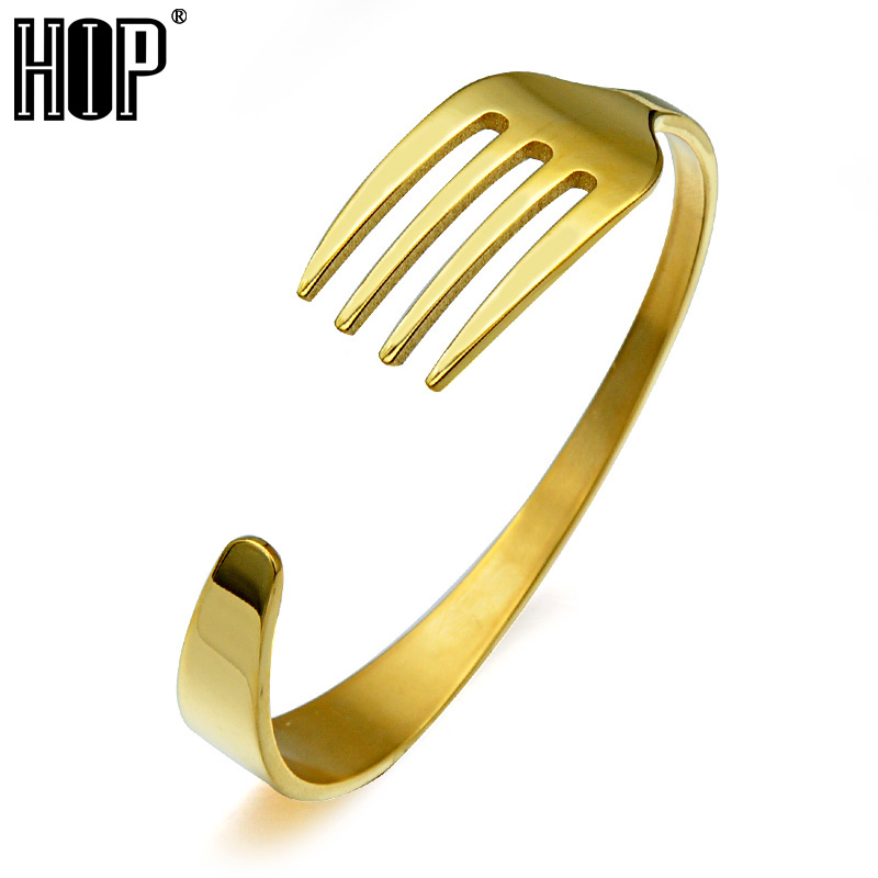 HIP Hop Men Rock 4 Colors Fork Spoon Bracelets Stainless Steel Bracelets & Bangles for Men Jewelry trustylan cool stainless steel dragon grain bracelets men new arrival punk rock keel mens bracelets