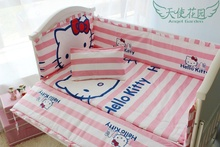 Promotion! 6PCS Hello Kitty baby Bedding sets Bumpers Fitted sheet ,include(bumpers+sheet+pillow cover)