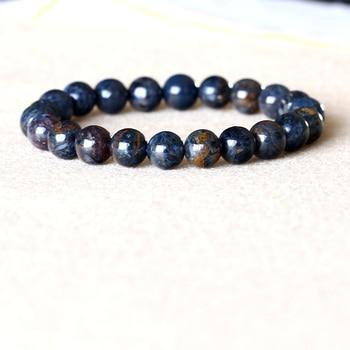 Genuine Natural Gold Blue Pietersite Namibia Stretch Men's Bracelet Round Beads 8mm