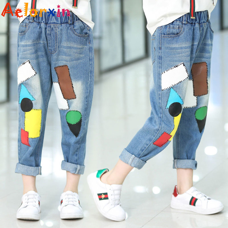 Girls Denim Pants Summer Children Jeans Pants Leggings Baby Patchwork - Children's Clothing - Photo 1
