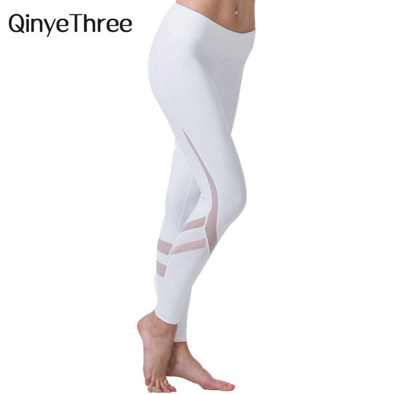 Fitness   Leggings   For Women Mesh   Leggings   QinyeThree Pants fashion Women track pants casual activity White Black Breathable mesh