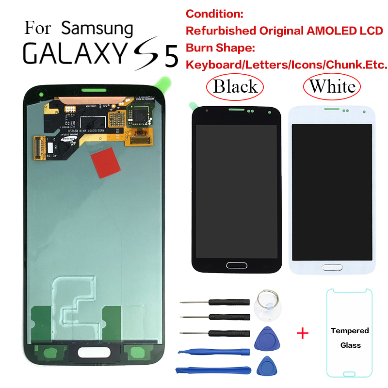For <font><b>Samsung</b></font> S5 G900 SM-<font><b>G900F</b></font> <font><b>Display</b></font> LCD Screen replacement for <font><b>Samsung</b></font> G900FD G9008W G900FQ lcd <font><b>display</b></font> with Burn-Shadow image