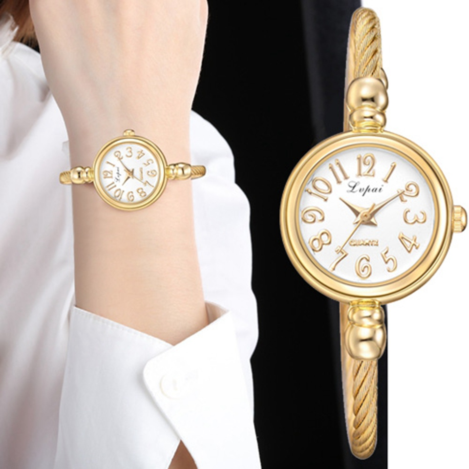 Lvpai Women Small Gold Bangle Bracelet Luxury Watches Stainless Steel Ladies Qua