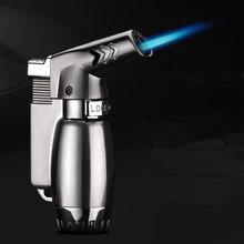 цена на Compact Spray Gun Blue Fire Windproof Lighter Butane Jet Lighter Gas Torch Turbo Lighter Metal 1300 C Safety Lock Cigar Lighter