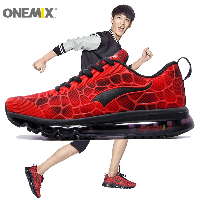 ONEMIX New Men Running Shoes Nice Run Athletic Trainers Man Red Black Zapatillas Sport Shoe Max Cushion Outdoor Walking Sneakers 2018 man running shoes for men cushion shox athletic trainers sport shoe max zapatillas wave breathable outdoor walking sneakers