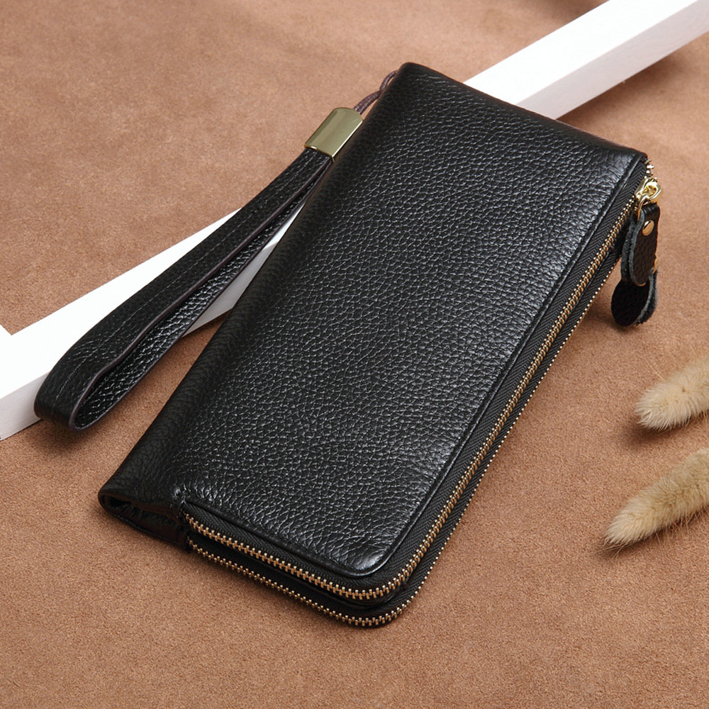 Cow Wallet for Women Men Genuine Leather Purse Long Wristlet Clutch Bag Female Purse Phone Multi Card Holder Coin Double Zipper large capacity women wallet leather card coin holder money clip long clutch phone wristlet trifold zipper cash female purse