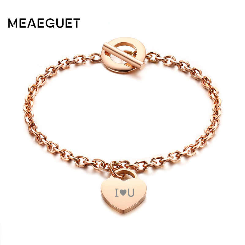 Engraved Personalized Women Charm Bracelet 585 Rose Gold Heart Pattern Buckle Stainless Steel Female Mon Girlfriend Lady Gifts