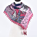 New Woman Soft Small Flowers Tassels Square Scarf Winter Cotton Cashew Scarves Girl Warm National Rose Chevron Shawl Wrap
