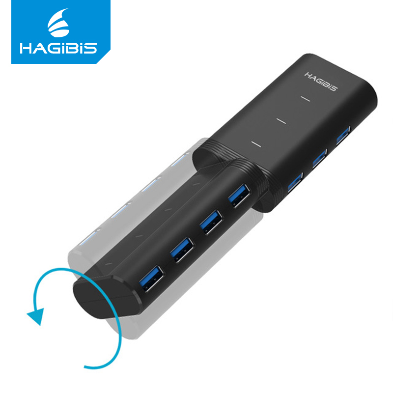 Hagibis USB 3.0 HUB 7 Ports High-Speed 180 Rotation 5 Gbps mit Power Versorgung USB 3.0 Splitter Interface für Laptop PC Computer