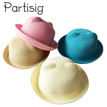 2018 Barn Sommer Hatt Barn Stropp Cap Katt Øre Strand Panama Hatt For Jenter Sol Barn Hatter For Gutter Cartoon Baby Hatter Caps