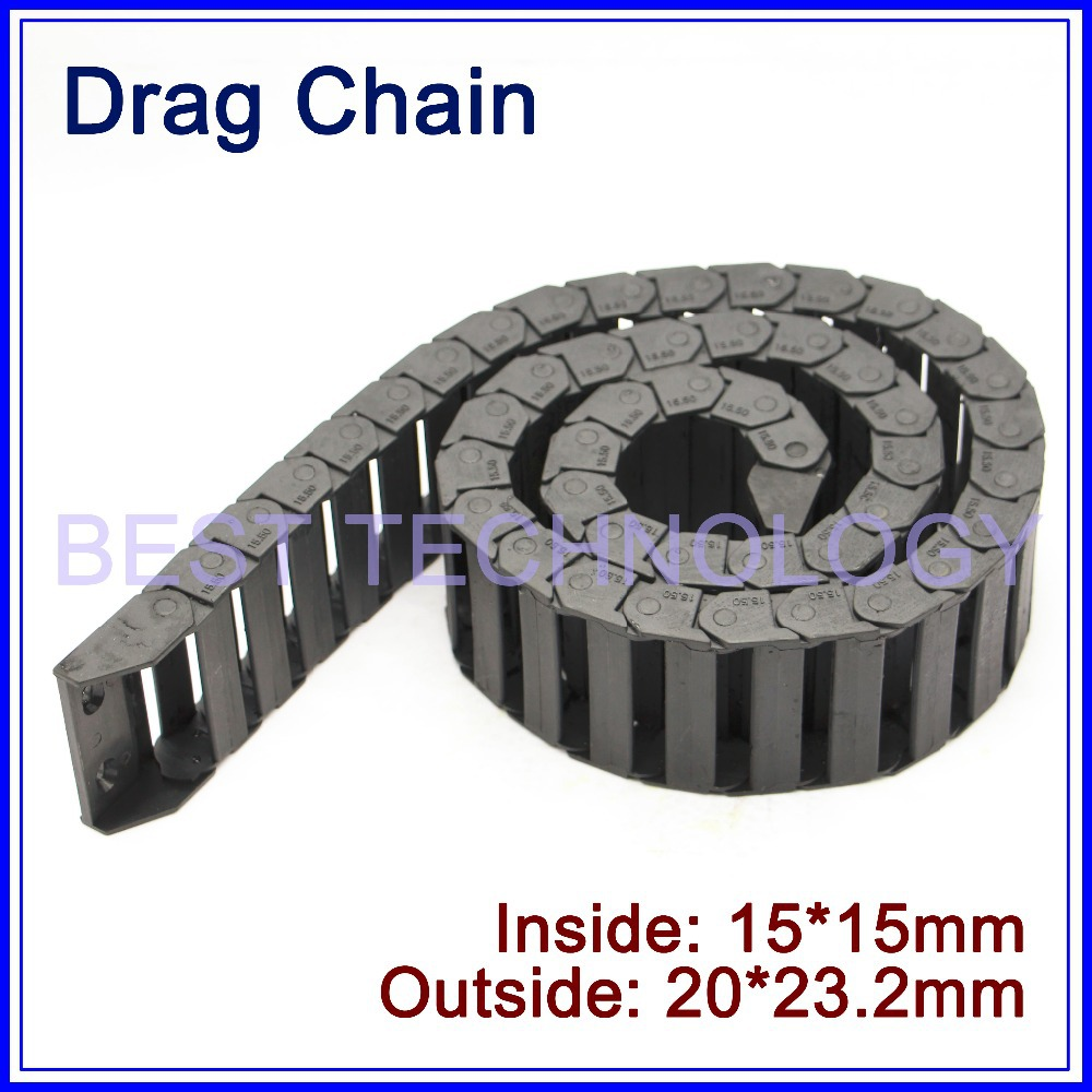 Series 15 x 15mm 20mm 30mm 40mm 50mm length L1000mm Plastic Cable Drag Chain Wire Carrier with end connectors plastic towline ! 10 x 20mm 10 20mm l1000mm plastic nylon cable drag chain wire carrier for cnc router machine tools