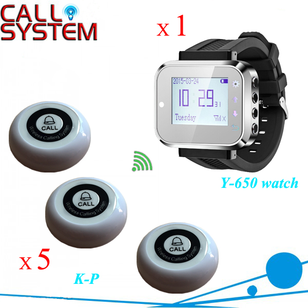 Waiter call wireless system 1 watch wrist with 5 bell buzzer for guest use in 433.92mhz one set wireless system waiter caller bell service 1 watch wrist pager with 5pcs table customer button ce passed