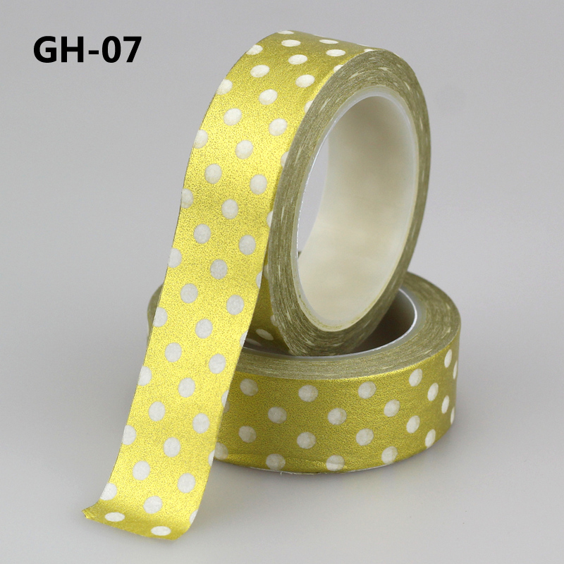 1X Japanese Masking Paper Washi Tape Cute Gold Dots DIY Scrapbooking Stickers Label Adhesive Tapes 10m School Office Supply