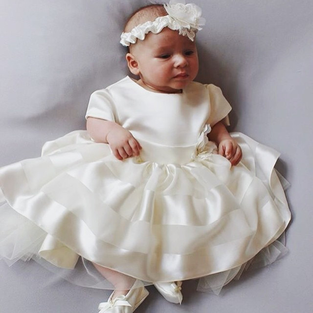 3f014a7b766 New Arrive Lovely White Ivory Champagne Ball Gown Christening Gown Handmade Baby  Girl Baptism Dresses 010
