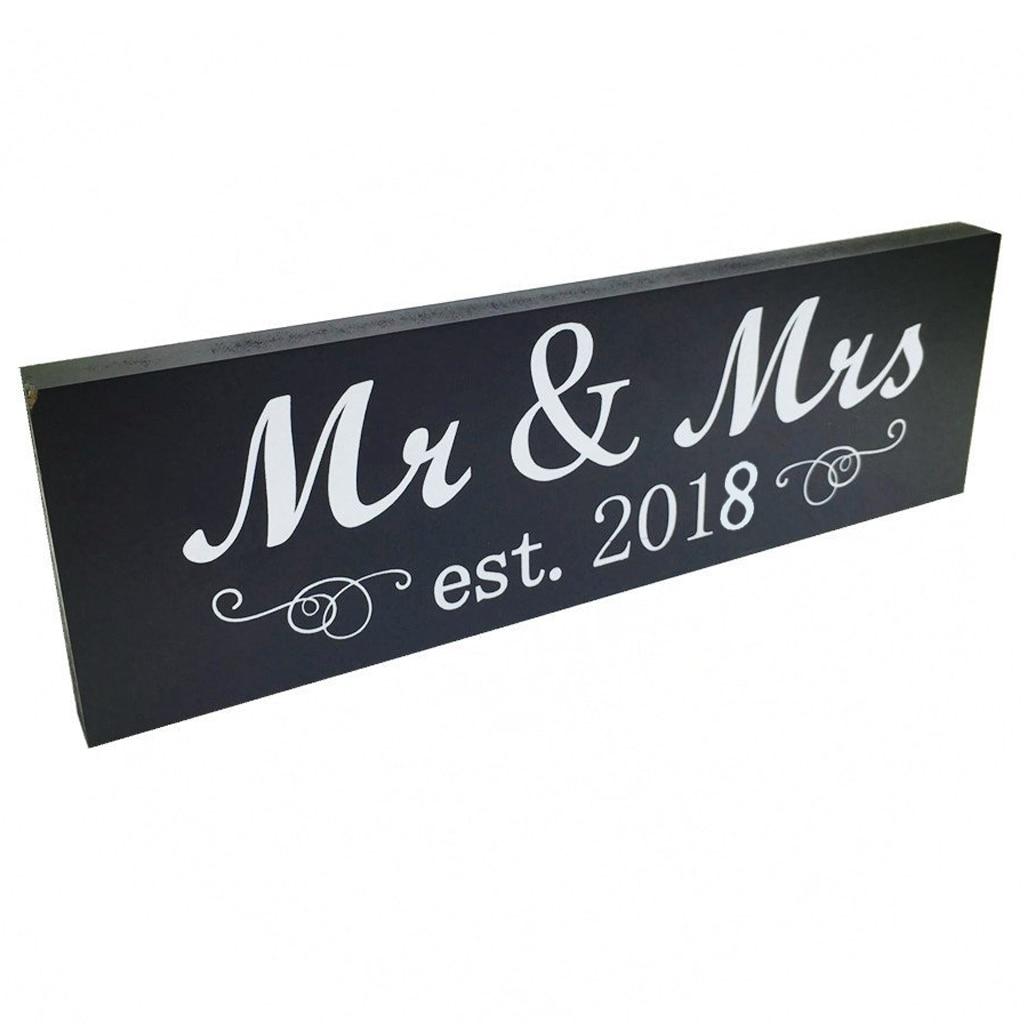 IALJ Топ Mr & Mrs 2018 Знак Древесины свадьбы Милая украшения стола, Декор стены, свадебные подарки душ, мистер и миссис буквы для W