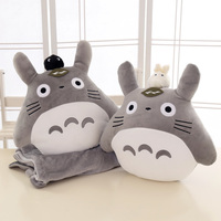 Candice guo! cute plush toy lovely My Neighbor Totoro leaf with white black doll cushion blanket birthday Christmas gift 1pc
