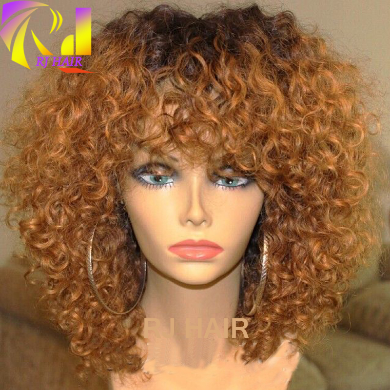Short Ombre Kinky Curly Full Lace Wig Peruvian Virgin Hair