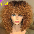 Short Ombre Kinky Curly Full Lace Wig Peruvian Virgin Hair Dark Roots Blonde 30# Ombre Full Lace Human Hair Wigs Bleached Knots