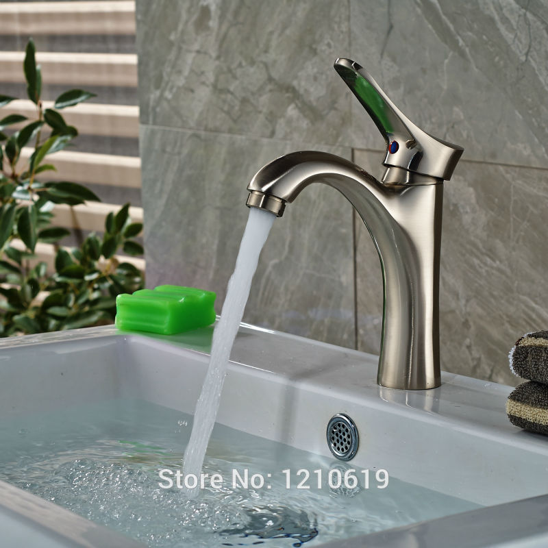 Newly Deck Mount Bathroom Basin Faucet Sink Mixer Tap Nickel Brushed Cold&Hot Water Tap Single Hole new arrival tall bathroom sink faucet mixer cold and hot kitchen tap single hole water tap kitchen faucet torneira cozinha