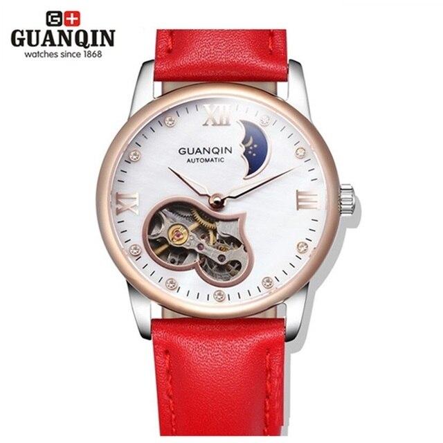 4f08d20513d6 Guanqin mujeres pulsera reloj tourbillon impermeable reloj mujeres famosas  marca fase lunar rojo chica blanca relojes. Sitúa el cursor encima para ...