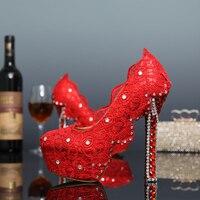 De Encaje rojo Elegante Plataforma Mujeres Tacones Altos Zapatos de Boda Zapatos de Novia Zapatos de Vestir Formales Zapatos de dama de Honor Formal