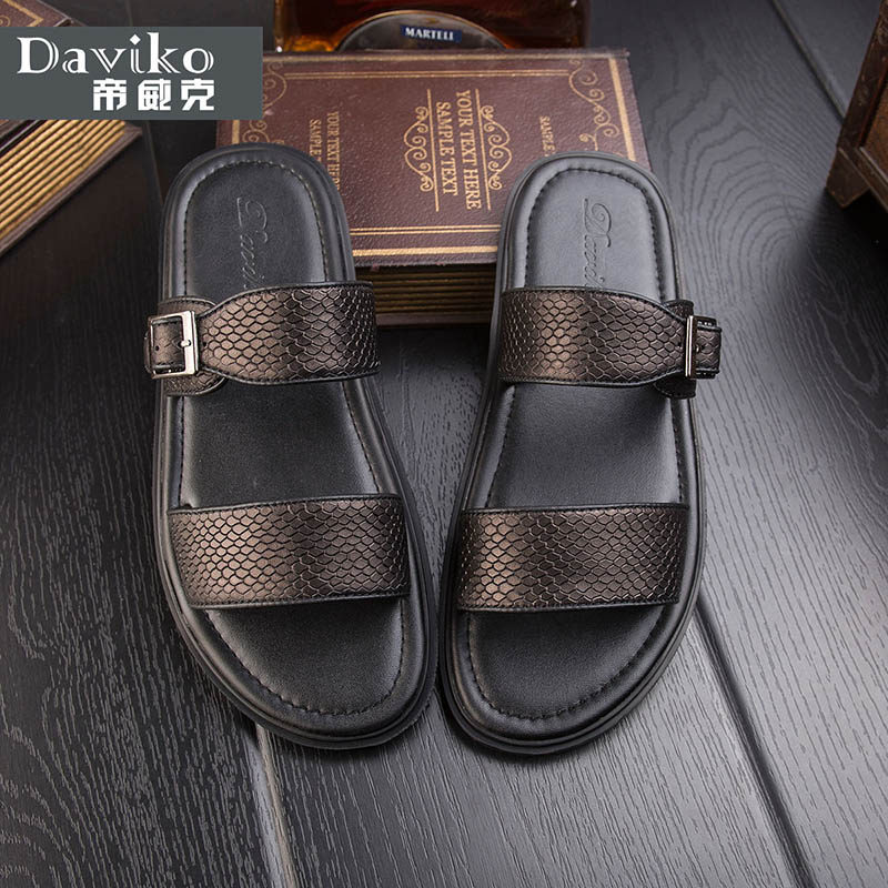 цены  European station summer new Roman sandals male British leather skin slippers men trend to prepare sandals beach shoes RL317