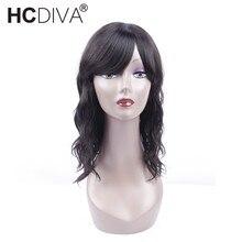 Natural Wave Human Hair Wig Brazilian Non-Remy Machine Wig Natural Black For Woman Density 130% HCDIVA Hair