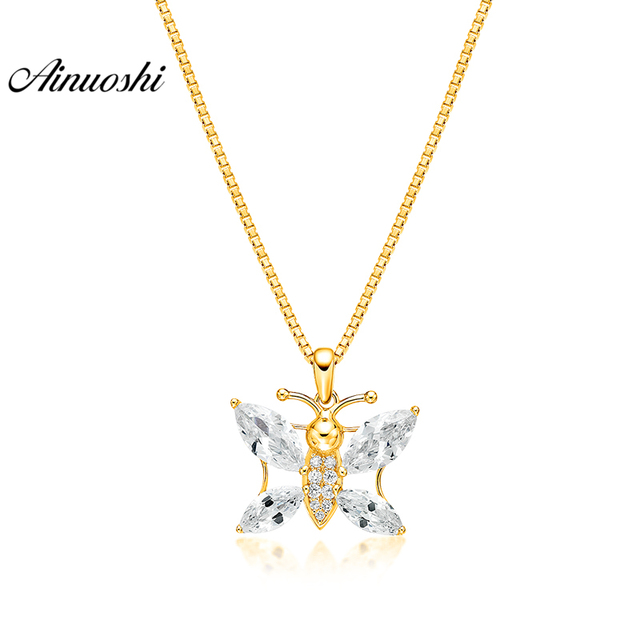 18915b9953eea US $82.1 47% OFF|AINUOSHI 10K Solid Yellow Gold Pendant Brilliant Bees  Pendant Marquise Cut SONA Diamond Women Men Jewelry Separate Pendant-in  Charms ...