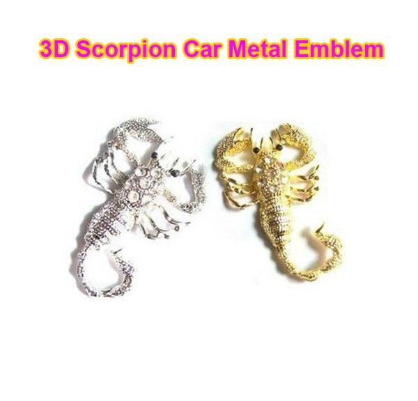 New Hot Sale 1 pcs 3D Scorpion Gobo Symbol Metal Alloy Emblem Badge Sticker Decal Golden for Car Auto Motor 0039
