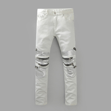 Pure white jeans men s luxury high quality zipper designer vogue of new fund of 2016