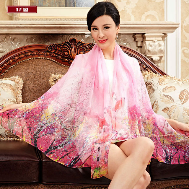 High Quality 2016 Spring 100% Real Silk Scarf Shawl Wrap for Women Long Style Floral Scarves Super Big Size Summer Beach cover