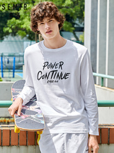 SEMIR 2019 new long sleeve T-shirt men simple round neck pullover casual autumn clothes hit color letter printing bottoming tsh fashion spring and autumn color letter printing men s long sleeve t shirt