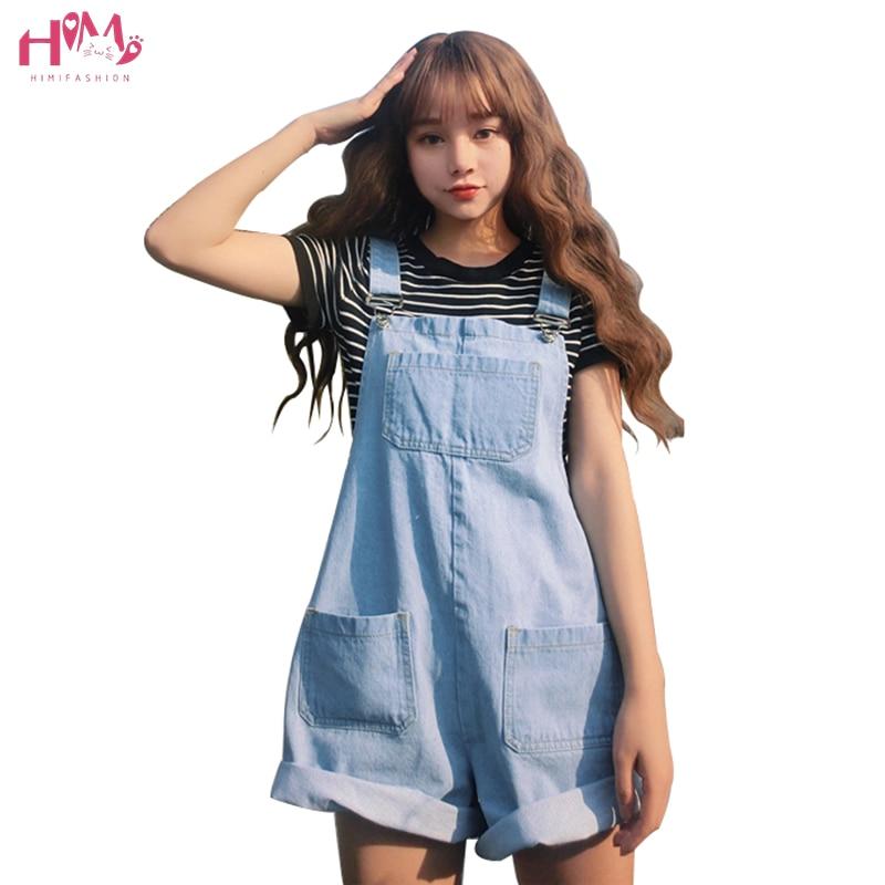 Spring Women Loose Denim Playsuits Vintage Harajuku High Waist Wide Leg Jeans Bib Overalls Pocket Roll Up Strap Shorts Jumpsuits