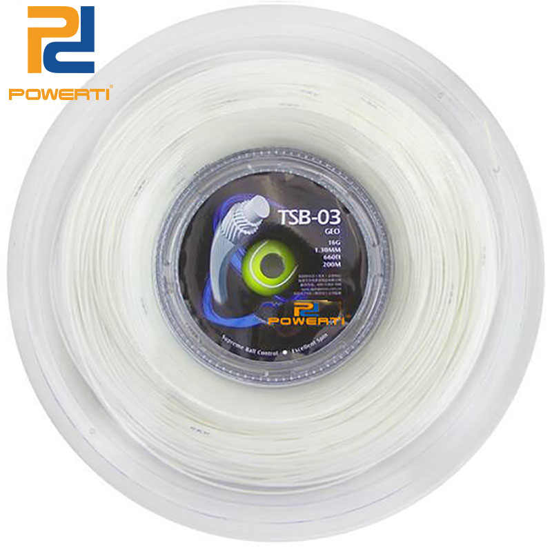 POWERTI GEO 1.30mm Tennis String Synthetic Hexagonal Multifilament Tennis Racket String 200m Reel Soft White Feeling 40-60lbs