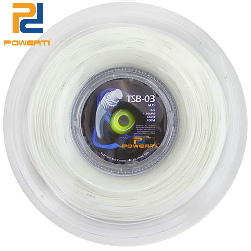 POWERTI GEO 1.30mm Tennis String Synthetic Hexagonal Multifilament Tennis Racket String 200m Reel Soft White Feeling 40-60lbs new replacement 200m reel racquet tennis string power rough 1 25mm tennis racket string promotion soft nylon tennis racket line