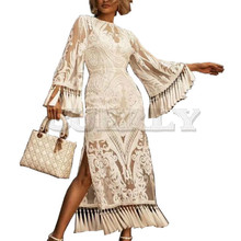 2019 CUERLY Lace Summer Flare Sleeve Bohemian Beach Dress with Embroidery Tassel Slit Maxi Women Dresses Verano