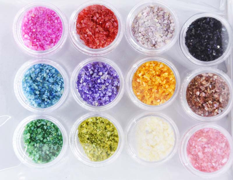 Nails Art & Werkzeuge Nagelglitzer 12 Farben Crushed Shell Powder Nail Art Dekoration 12 Töpfe/lot Glitter Geistige Nagel Werkzeug Acryl Pulver Partikel Shell Top Wassermelonen
