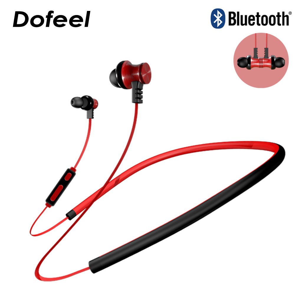 Dofeel DF-06 Stereo Magnetic Earphone Neckband Bluetooth Headphone Wireless Sports Earphone Running with Mic for Mobile Phone rs 01 magnetic movement running stereo mini wireless bluetooth headphone