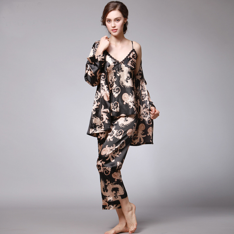 Autumn Women 3Pcs Robe Pajama Pants Sets Satin Chineses Traditonal Dragon Print Sleepwear Silk-like Adjustable Straps Loungewear ...