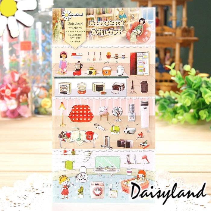 1 Sheet Home Kitchen Articles Cartoon Daisyland Scrapbook PET Paper Kawaii Sticker Diary Decal