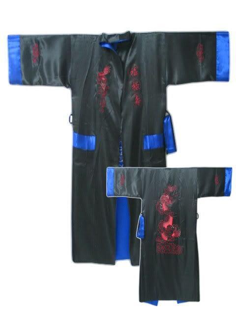 Azul negro Reversible Dos Caras de Los Hombres Chinos de Satén de Seda Robe Kimono Vestido Del Baño Del Dragón S0001