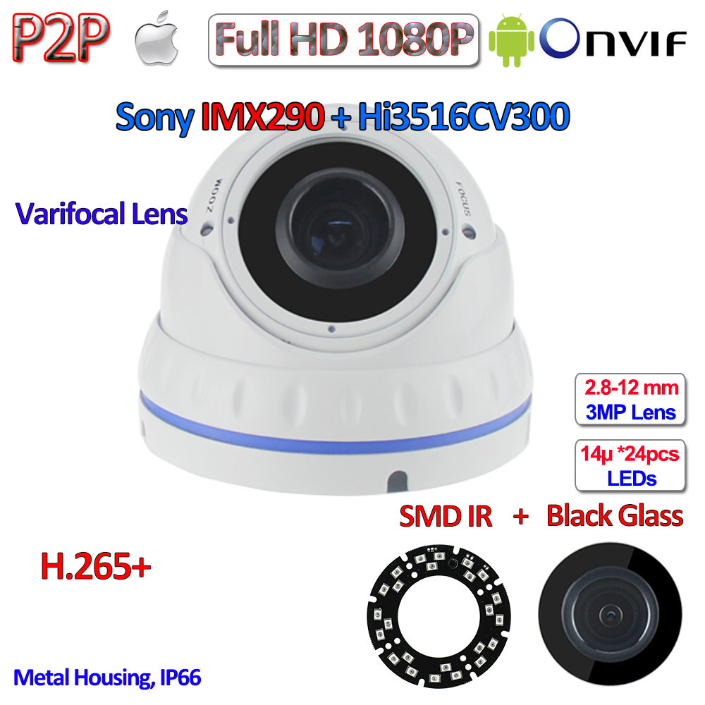 H.265 H.265 + Hisilicon 2MP camaras IP 1080P P2P security Camera IMX290 Camera IP hd with 24LED, 2.8-12mm Lens, HDR, ONVIF, PoE h 265 1080p ip cctv 2 0mp onvif 2 4 imx290 camera ip p2p night vision ip camera poe ir cut h 264 2 8 12mm 3mp hd lens wdr