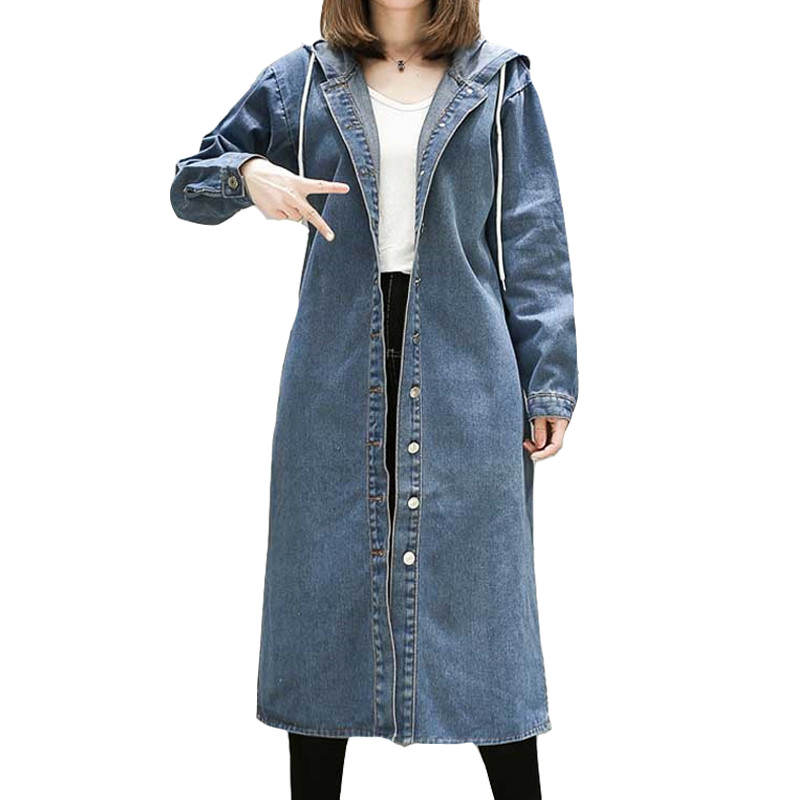 2019 Autumn Denim   Trench   Coat For Women's Windbreaker Long Sleeve Split Loose Hooded Oversize Coat Casual Female Long Top L256