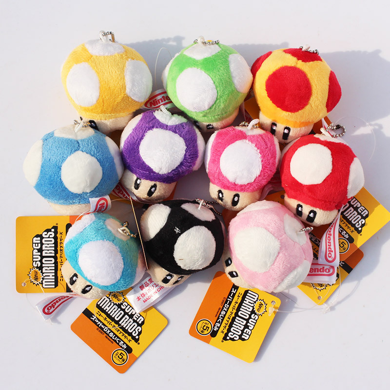 10pcs/lot Super Mario Bros Mushroom People Plush Soft Toy Plush Doll Stuffed Toy Keychains Pendants 7cm 1