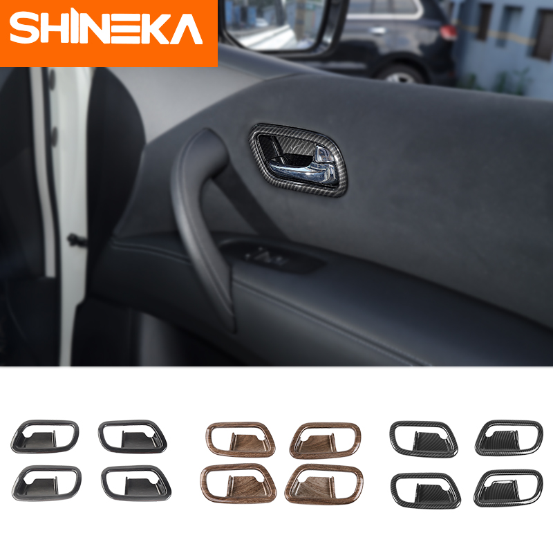 SHINEKA Interior Mouldings For Nissan Patrol Y62 Accessories ABS Door Handle Bowl Sticker 2013  2017 For Patrol Y62 Interior Mouldings     - title=