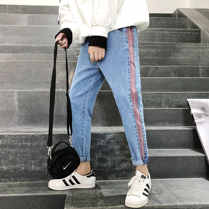 2018 Spring And Autumn Men's New Side Stitching Contrast Color Jeans Loose Casual Youth Fashion Trend Personality Temperament