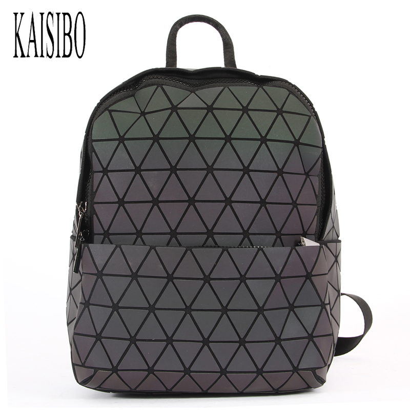 KAISIBO Women Backpack Diamond Lattice Geometry Quilted Luminous School Bag Backpacks For Teenage Girl Mochila Feminina kaisibo luminous backpack diamond lattice bag travel geometric women fashion bag teenage girl school noctilucent backpack
