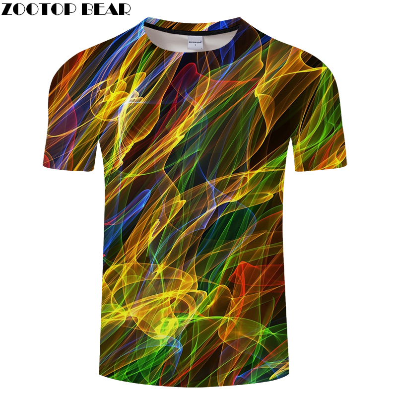 Dazzling Line 3D Print   t     shirt   Men Women tshirt Summer Casual Short Sleeve O-neck Tops&Tees Camiseta Shine Drop Ship ZOOTOP BEAR