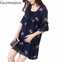 Pregnancy women clothes Summer wear Embroidery butterfly Maternity dress two piece short sleeved chiffon skirt + vest